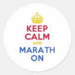 KEEP CALM and MARATH ON Round Sticker