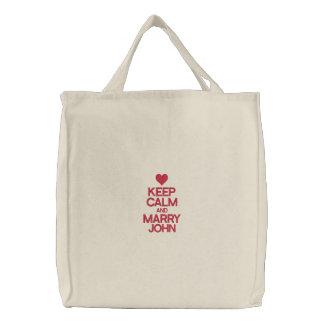 Keep Calm and Marry John Embroidered Bag Bag