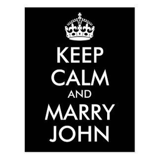 Keep Calm and Marry John Postcard