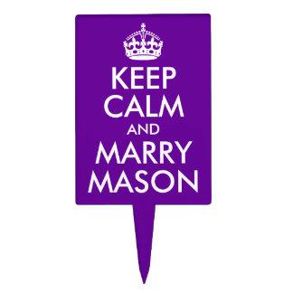 Keep Calm and Marry Mason Cake Picks