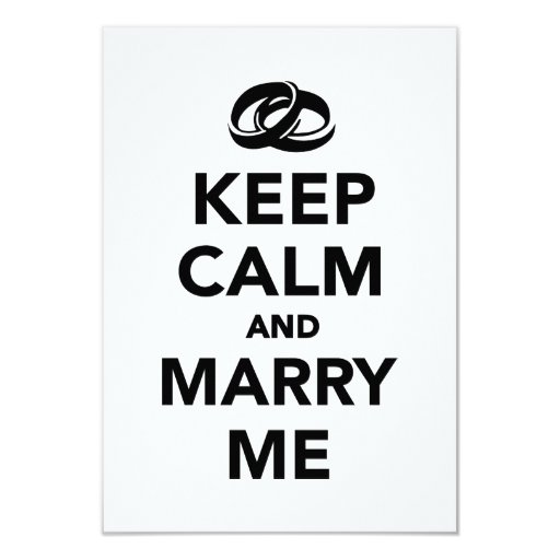 Keep calm and marry me 3.5x5 paper invitation card