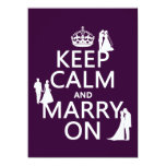 Keep Calm and Marry On (all colors) Custom Invitations