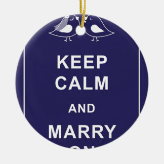 Keep Calm And Marry On Birds Double-Sided Ceramic Round Christmas Ornament