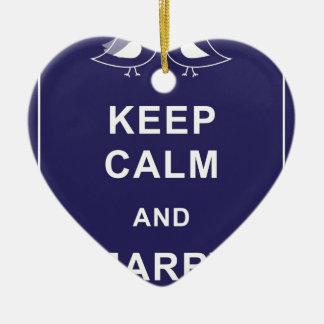 Keep Calm And Marry On Birds Double-Sided Heart Ceramic Christmas Ornament