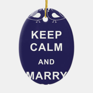 Keep Calm And Marry On Birds Double-Sided Oval Ceramic Christmas Ornament