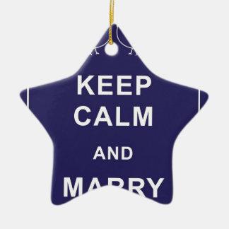 Keep Calm And Marry On Birds Double-Sided Star Ceramic Christmas Ornament