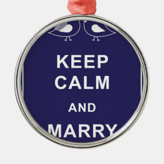 Keep Calm And Marry On Birds Round Metal Christmas Ornament