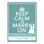 """Keep Calm and Marry On - Bride and Groom 5.5"""" X 7.5"""" Invitation Card"""