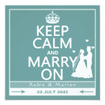 """Keep Calm and Marry On - Bride and Groom 5.25"""" Square Invitation Card"""