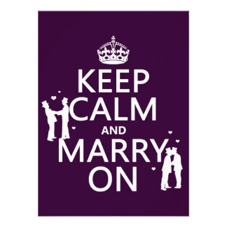 Keep Calm and Marry On customizable color Custom Invites