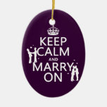 Keep Calm and Marry On (customizable color) Double-Sided Oval Ceramic Christmas Ornament
