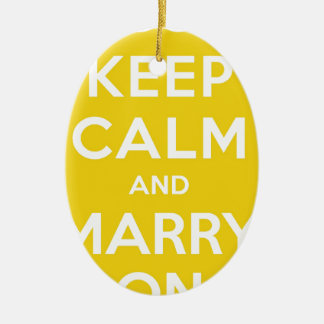 Keep Calm And Marry On Double-Sided Oval Ceramic Christmas Ornament