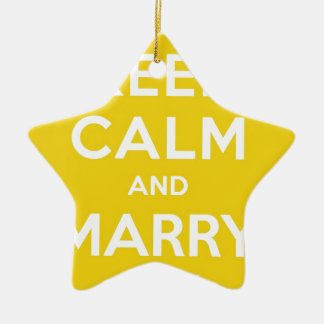 Keep Calm And Marry On Double-Sided Star Ceramic Christmas Ornament