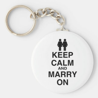 KEEP CALM AND MARRY ON (LES BASIC ROUND BUTTON KEYCHAIN