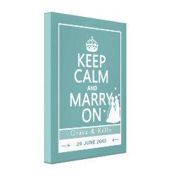 Keep Calm and Marry On Lesbian Wedding Stretched Canvas Print