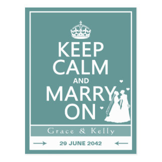 Keep Calm and Marry On Lesbian Wedding Postcards