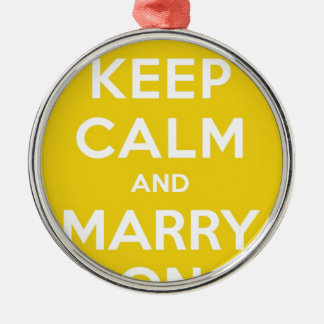 Keep Calm And Marry On Round Metal Christmas Ornament