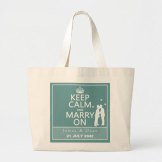 Keep Calm and Marry On (Two Men) Jumbo Tote Bag