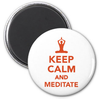 Keep calm and meditate 2 inch round magnet