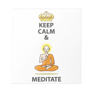 Keep Calm and Meditate Vector Art Gold Crown Notepad
