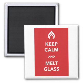 Keep Calm and Melt Glass 2 Inch Square Magnet