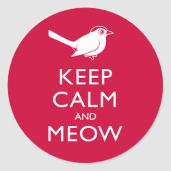 Round Sticker with Keep Calm and Meow design