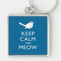 Premium Square Keychain with Keep Calm and Meow design