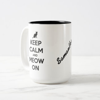 Keep Calm and Meow On Black on White Personalized Two-Tone Coffee Mug