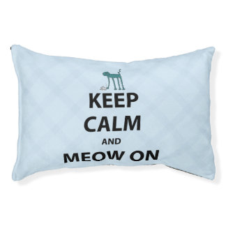Keep Calm and Meow On Small Dog Bed