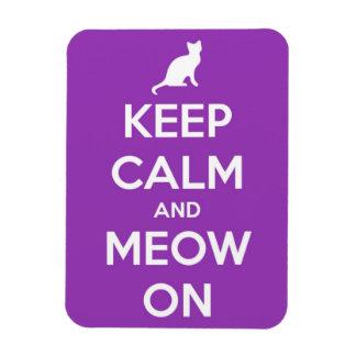 Keep Calm and Meow On Fuschia Rectangle Magnet