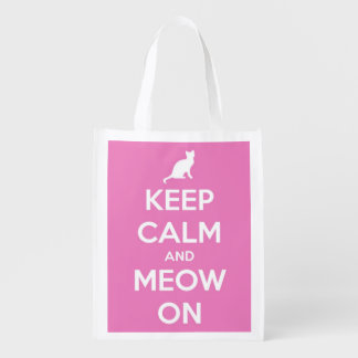 Keep Calm and Meow On Pink and White Personalized Market Totes