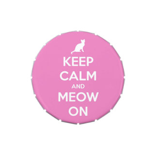 Keep Calm and Meow On Pink Candy Tin