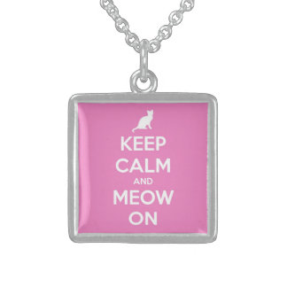 Keep Calm and Meow On Pink Square Pendant Necklace