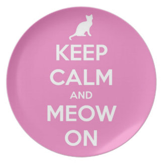 Keep Calm and Meow On Pink Plate
