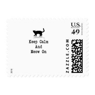 Keep Calm and Meow On Postage