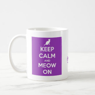 Keep Calm and Meow On Purple Coffee Mug