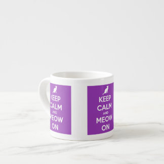Keep Calm and Meow On Purple Espresso Cup