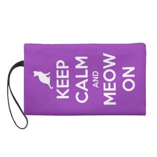 Keep Calm and Meow On Purple Wristlet Purse