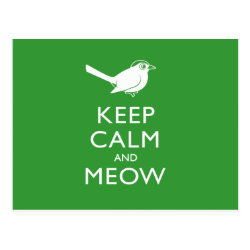 Postcard with Keep Calm and Meow design