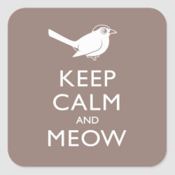 Square Sticker with Keep Calm and Meow design