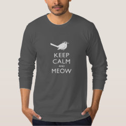 Men's American Apparel Fine Jersey Long Sleeve T-Shirt with Keep Calm and Meow design