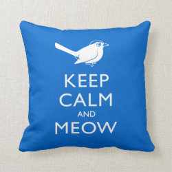 Cotton Throw Pillow with Keep Calm and Meow design