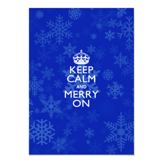 Keep Calm And Merry On Blue 5x7 Paper Invitation Card