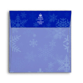 Keep Calm And Merry On Blue Decor Envelope