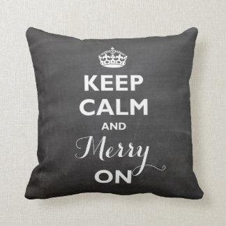 Keep Calm And Merry On Chalkboard Custom Pillow