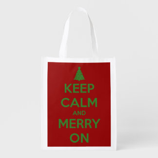 Keep Calm and Merry On Green on Red Personalized Reusable Grocery Bag
