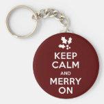 Keep Calm and Merry On Keychain