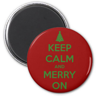 Keep Calm and Merry On Red and Green 2 Inch Round Magnet