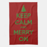 Keep Calm and Merry On Red and Green Hand Towels