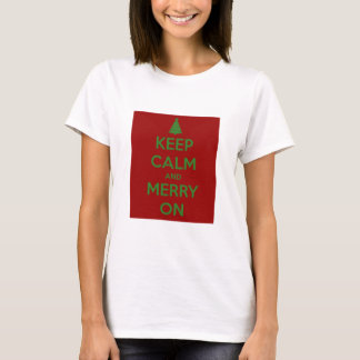 Keep Calm and Merry On Red and Green T-Shirt